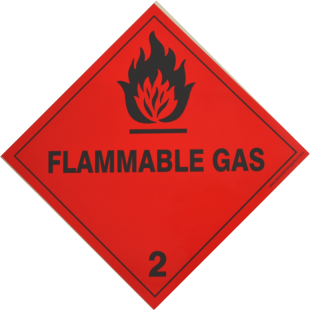 2.1 FLAMMABLE GAS Hazard Placard self-adhesive 300x300mm