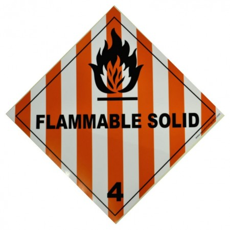 4.1 FLAMMABLE SOLID Hazard Placard self-adhesive 300x300mm