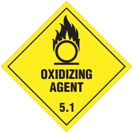 5.1 OXIDIZING SUBSTANCES Hazard Placard self-adhesive 300 x 300 mm
