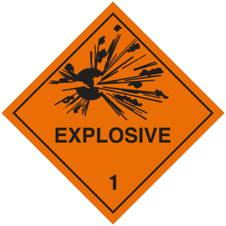 1 EXPLOSIVE Hazard Placard self-adhesive 300x300mm
