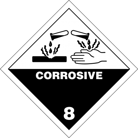 8 CORROSIVE SUBSTANCE Hazard Placard self-adhesive 300 x 300 mm