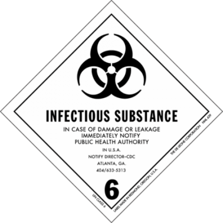 6.2 INFECTIOUS SUBSTANCE Hazard Placard self-adhesive 300 x 300 mm