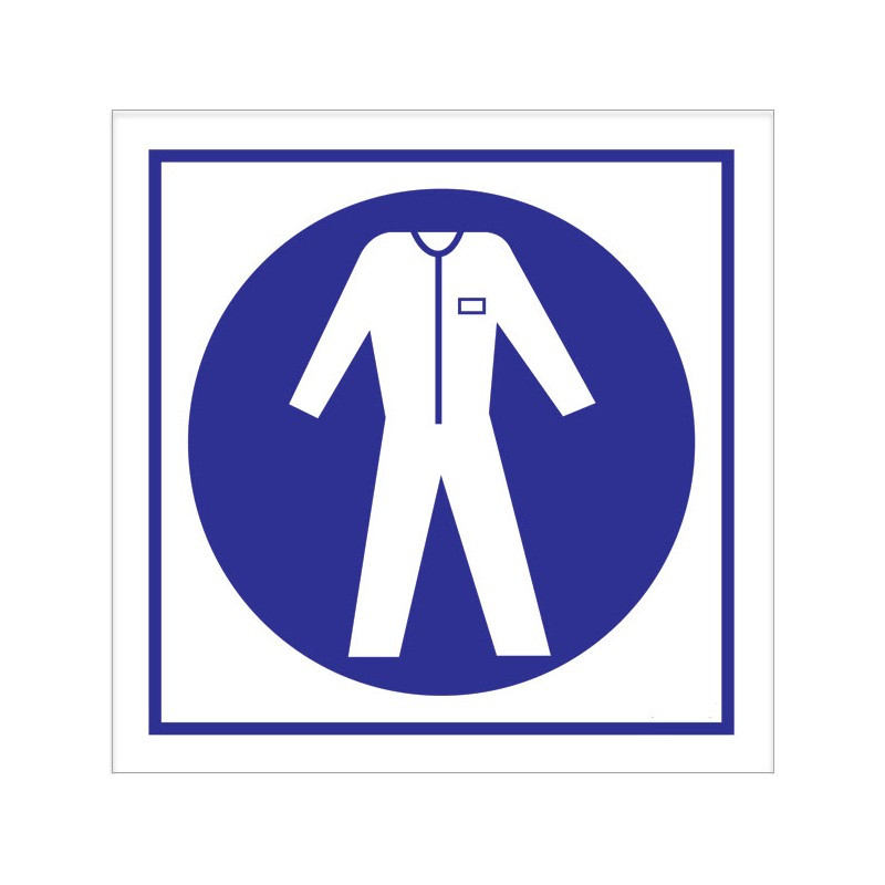 Wear Protective Clothing 150x150mm Material Symbol White, self adhesive  vinyl